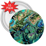 Fractal Batik Art Teal Turquoise Salmon 3  Buttons (10 pack)  Front