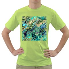 Fractal Batik Art Teal Turquoise Salmon Green T Shirt by EDDArt