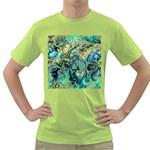 Fractal Batik Art Teal Turquoise Salmon Green T-Shirt