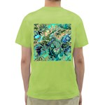 Fractal Batik Art Teal Turquoise Salmon Green T-Shirt Back