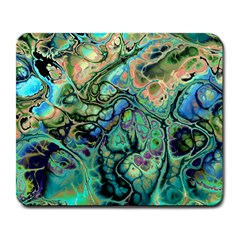 Fractal Batik Art Teal Turquoise Salmon Large Mousepads by EDDArt