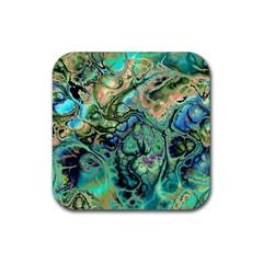 Fractal Batik Art Teal Turquoise Salmon Rubber Coaster (square)  by EDDArt
