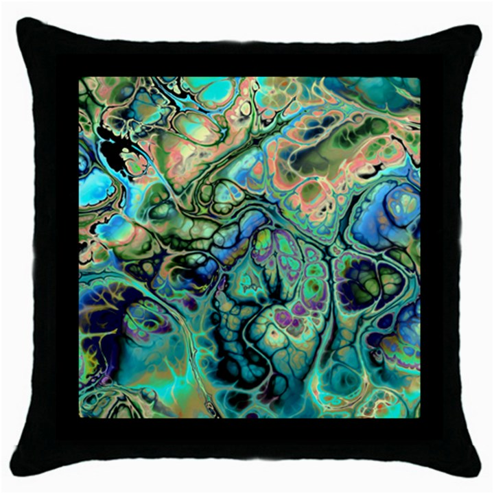 Fractal Batik Art Teal Turquoise Salmon Throw Pillow Case (Black)