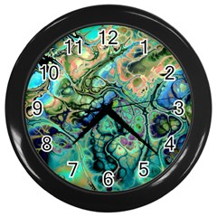 Fractal Batik Art Teal Turquoise Salmon Wall Clocks (black) by EDDArt