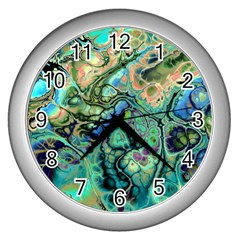 Fractal Batik Art Teal Turquoise Salmon Wall Clocks (silver)  by EDDArt
