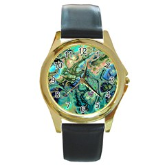 Fractal Batik Art Teal Turquoise Salmon Round Gold Metal Watch