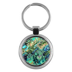Fractal Batik Art Teal Turquoise Salmon Key Chains (round)