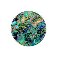 Fractal Batik Art Teal Turquoise Salmon Rubber Round Coaster (4 Pack)  by EDDArt