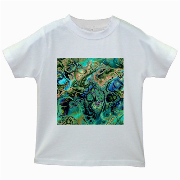 Fractal Batik Art Teal Turquoise Salmon Kids White T-Shirts