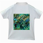 Fractal Batik Art Teal Turquoise Salmon Kids White T-Shirts Back
