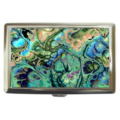Fractal Batik Art Teal Turquoise Salmon Cigarette Money Cases