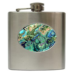 Fractal Batik Art Teal Turquoise Salmon Hip Flask (6 Oz) by EDDArt