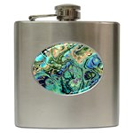 Fractal Batik Art Teal Turquoise Salmon Hip Flask (6 oz) Front