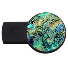 Fractal Batik Art Teal Turquoise Salmon Usb Flash Drive Round (2 Gb)  by EDDArt