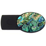 Fractal Batik Art Teal Turquoise Salmon USB Flash Drive Oval (2 GB)  Front