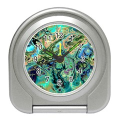 Fractal Batik Art Teal Turquoise Salmon Travel Alarm Clocks by EDDArt
