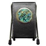 Fractal Batik Art Teal Turquoise Salmon Pen Holder Desk Clocks Front