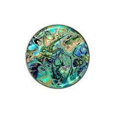 Fractal Batik Art Teal Turquoise Salmon Hat Clip Ball Marker (10 Pack)