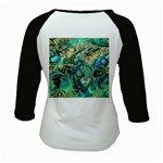 Fractal Batik Art Teal Turquoise Salmon Kids Baseball Jerseys Back