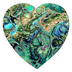 Fractal Batik Art Teal Turquoise Salmon Jigsaw Puzzle (heart) by EDDArt