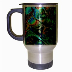 Fractal Batik Art Teal Turquoise Salmon Travel Mug (silver Gray) by EDDArt