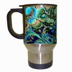 Fractal Batik Art Teal Turquoise Salmon Travel Mugs (white) by EDDArt