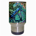 Fractal Batik Art Teal Turquoise Salmon Travel Mugs (White) Center