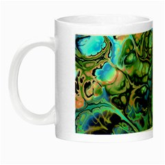 Fractal Batik Art Teal Turquoise Salmon Night Luminous Mugs