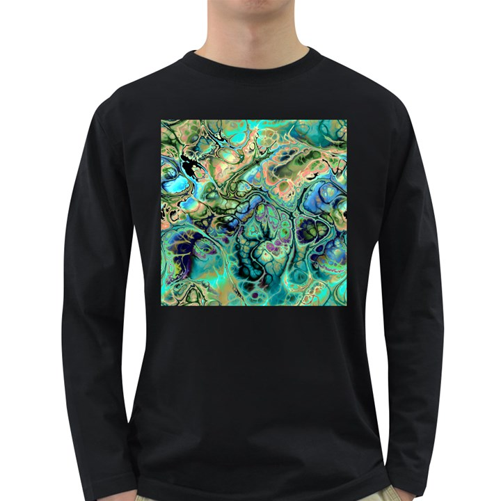 Fractal Batik Art Teal Turquoise Salmon Long Sleeve Dark T-Shirts