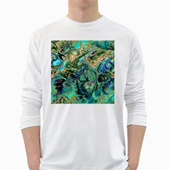 Fractal Batik Art Teal Turquoise Salmon White Long Sleeve T Shirts