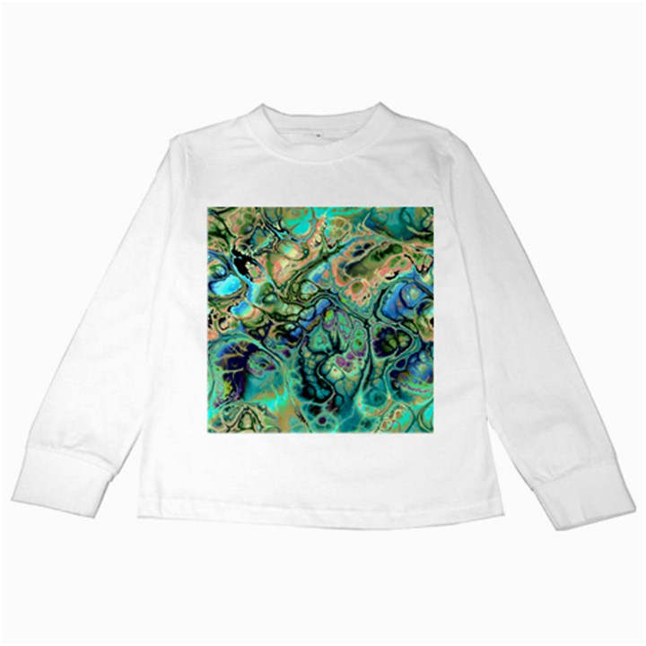 Fractal Batik Art Teal Turquoise Salmon Kids Long Sleeve T-Shirts