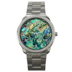 Fractal Batik Art Teal Turquoise Salmon Sport Metal Watch