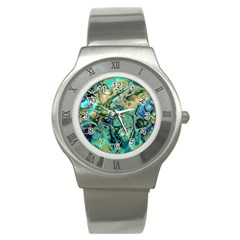 Fractal Batik Art Teal Turquoise Salmon Stainless Steel Watch