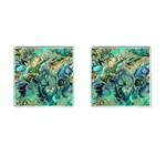 Fractal Batik Art Teal Turquoise Salmon Cufflinks (Square)