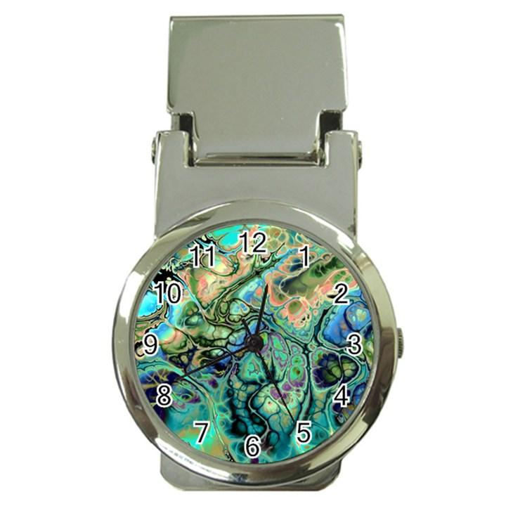Fractal Batik Art Teal Turquoise Salmon Money Clip Watches