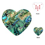 Fractal Batik Art Teal Turquoise Salmon Playing Cards (Heart)  Front