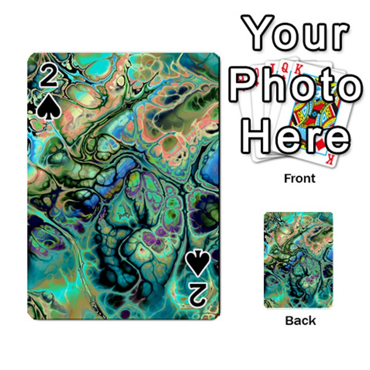 Fractal Batik Art Teal Turquoise Salmon Playing Cards 54 Designs