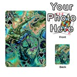 Fractal Batik Art Teal Turquoise Salmon Playing Cards 54 Designs  Front - SpadeA