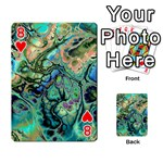 Fractal Batik Art Teal Turquoise Salmon Playing Cards 54 Designs  Front - Heart8