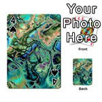 Fractal Batik Art Teal Turquoise Salmon Playing Cards 54 Designs  Front - Spade4