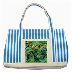 Fractal Batik Art Teal Turquoise Salmon Striped Blue Tote Bag by EDDArt