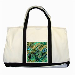 Fractal Batik Art Teal Turquoise Salmon Two Tone Tote Bag by EDDArt