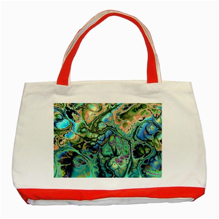Fractal Batik Art Teal Turquoise Salmon Classic Tote Bag (Red)
