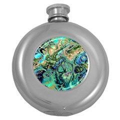 Fractal Batik Art Teal Turquoise Salmon Round Hip Flask (5 Oz) by EDDArt