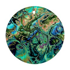 Fractal Batik Art Teal Turquoise Salmon Round Ornament (two Sides)  by EDDArt