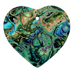 Fractal Batik Art Teal Turquoise Salmon Heart Ornament (2 Sides) by EDDArt