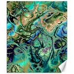 Fractal Batik Art Teal Turquoise Salmon Canvas 8  x 10