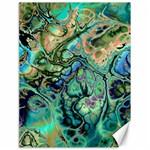 Fractal Batik Art Teal Turquoise Salmon Canvas 18  x 24
