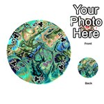 Fractal Batik Art Teal Turquoise Salmon Playing Cards 54 (Round)  Front - Club5