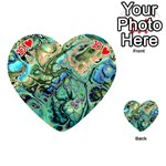 Fractal Batik Art Teal Turquoise Salmon Playing Cards 54 (Heart)  Front - Heart10